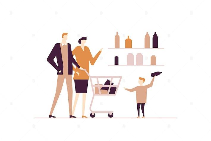 Thumbnail for Family shopping - flat design style illustration