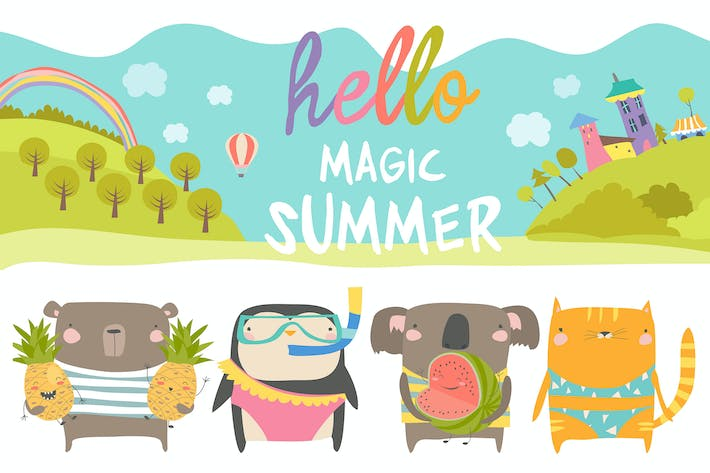 Thumbnail for Vector set of cute animals with summer theme