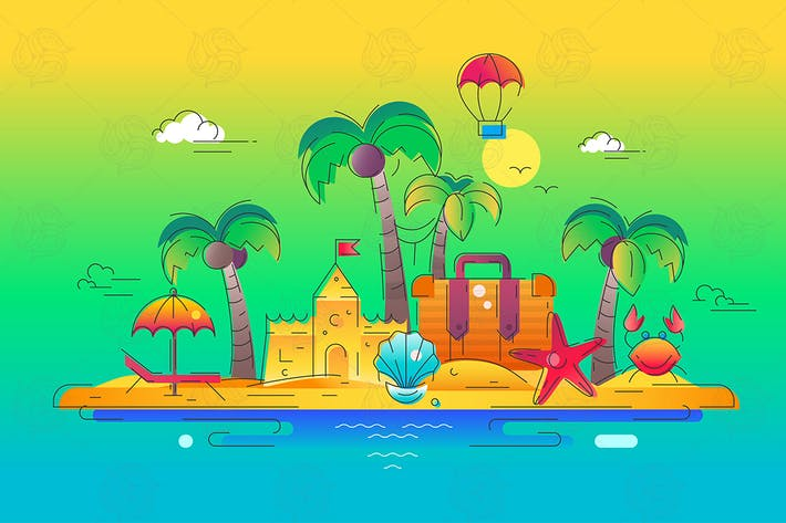 Thumbnail for At the Seaside - vector line travel illustration