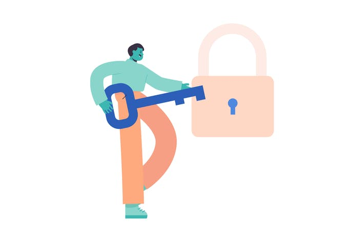 Lock Flat Illustration