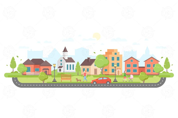 Thumbnail for Residential area - flat design style illustration