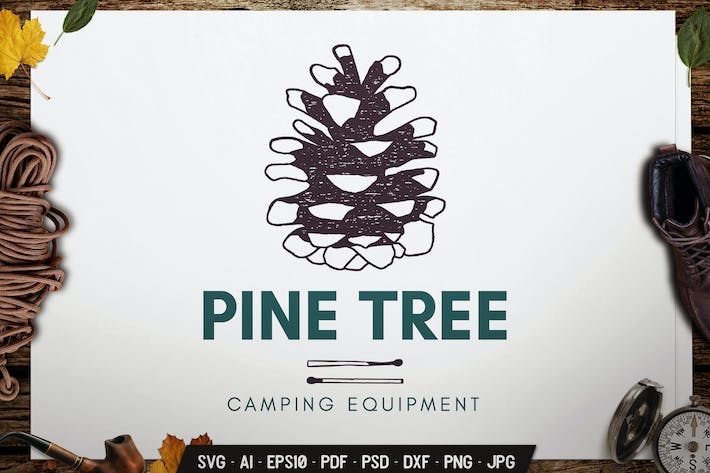 Thumbnail for Pine Tree Logo Badge Vector Travel Retro Graphic