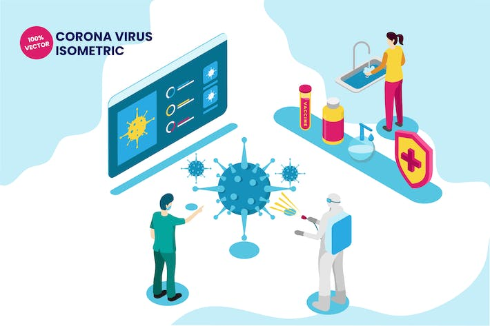 Thumbnail for Isometric Corona Virus Vector Illustration