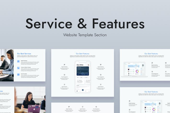Thumbnail for Web Service and Features Section Template