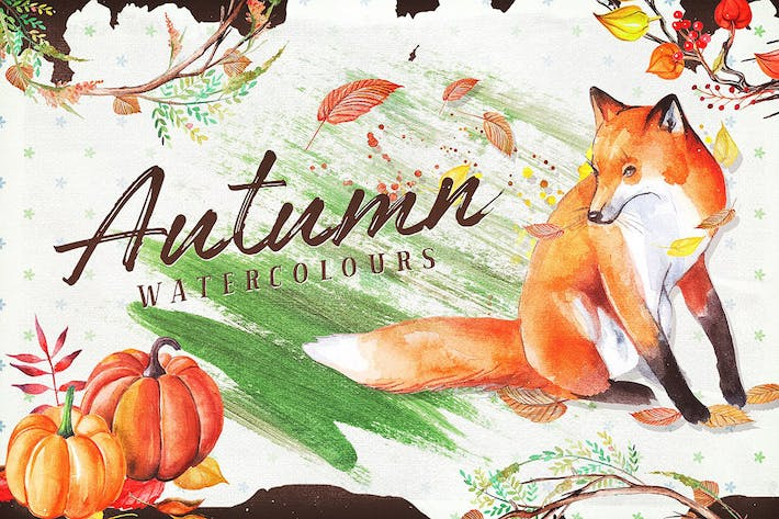 Thumbnail for Autumn Watercolour Wreaths & Clipart