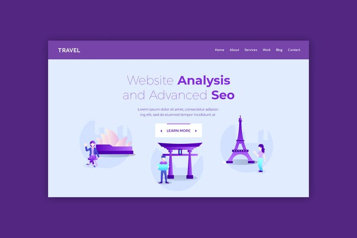 Thumbnail for Travel - Hero Banner Landing Page Template