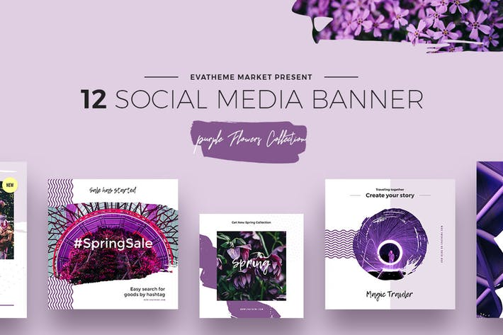 Thumbnail for Purple Flowers Social Media Designs