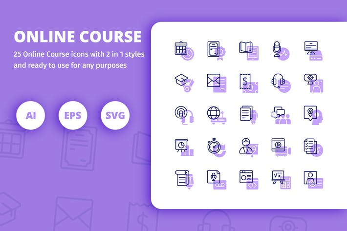Thumbnail for Online Course Icons (Line and Solid)
