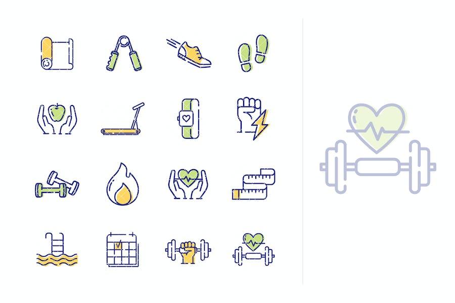 Íconos de actividades de fitness - Serie Esquema