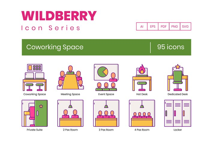 Thumbnail for 95 Coworking Space Icons | Wildberry Series