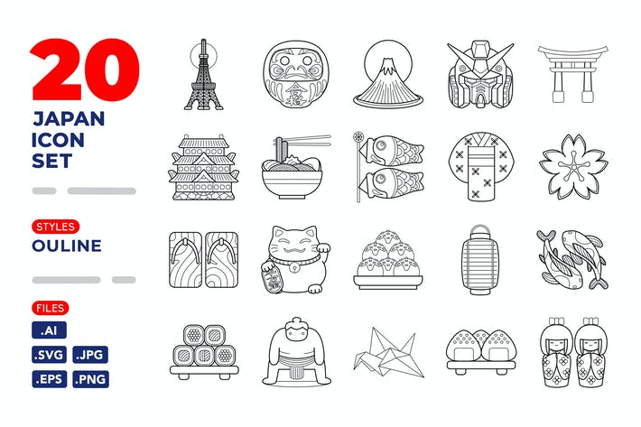 Thumbnail for Japan Icon Set (Outline)