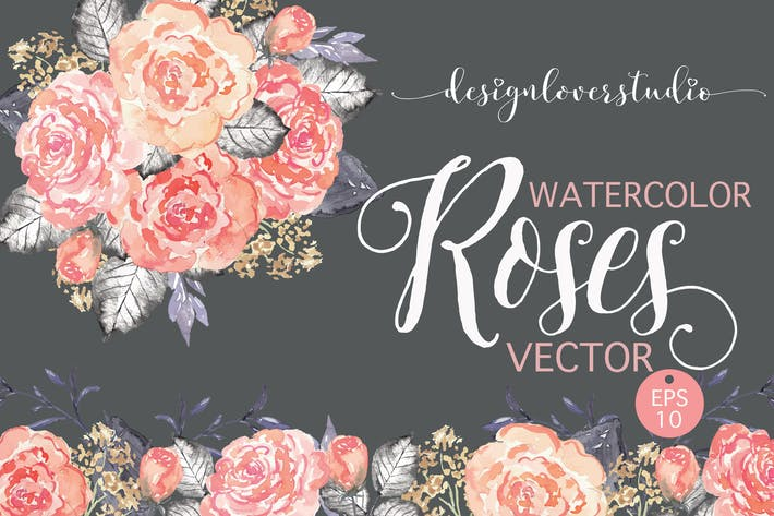 Thumbnail for Vector watercolor coral red roses