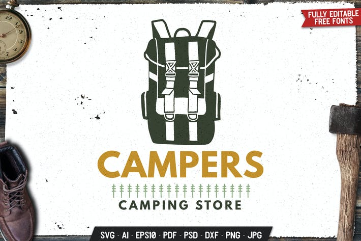 Camp Store Logo Badge Vector Travel Retro Graphic