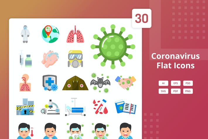 Thumbnail for Coronavirus - Flat Icons