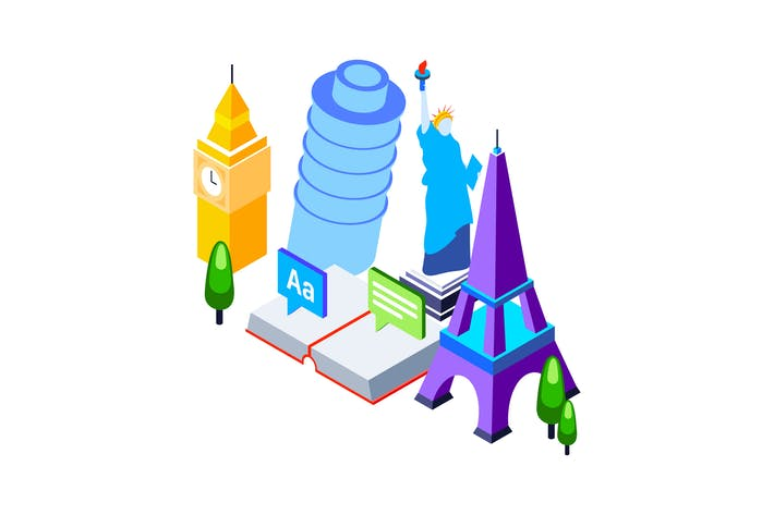 Thumbnail for Language School Isometric Illustration
