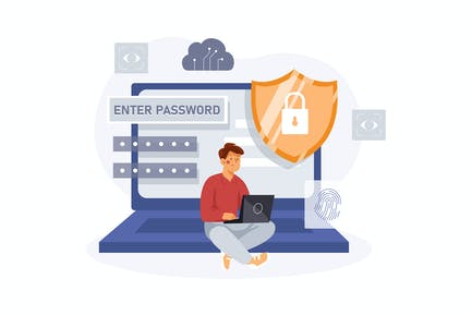 Password Encryption Illustration Concept