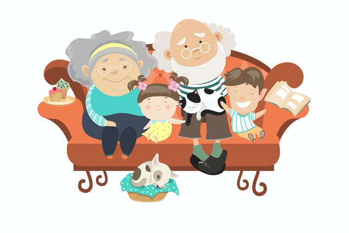Thumbnail for Grandparents and grandchildren. Happy grandparents