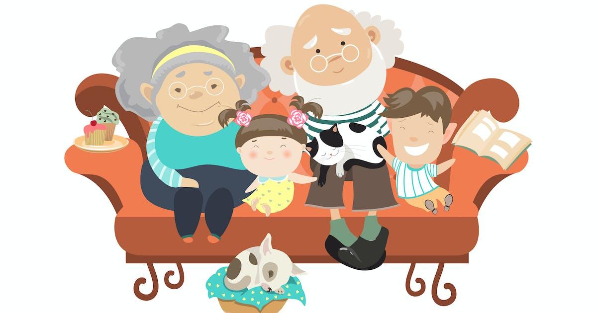 Download Grandparents and grandchildren. Happy grandparents by Unknow