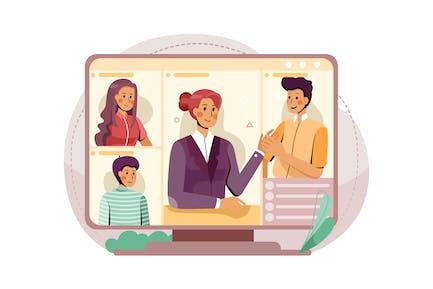 Der PC-Bildschirm mit dem Online-Meeting