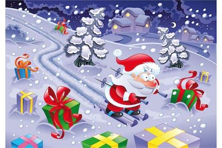 Papá Noel esquiando en la Noche