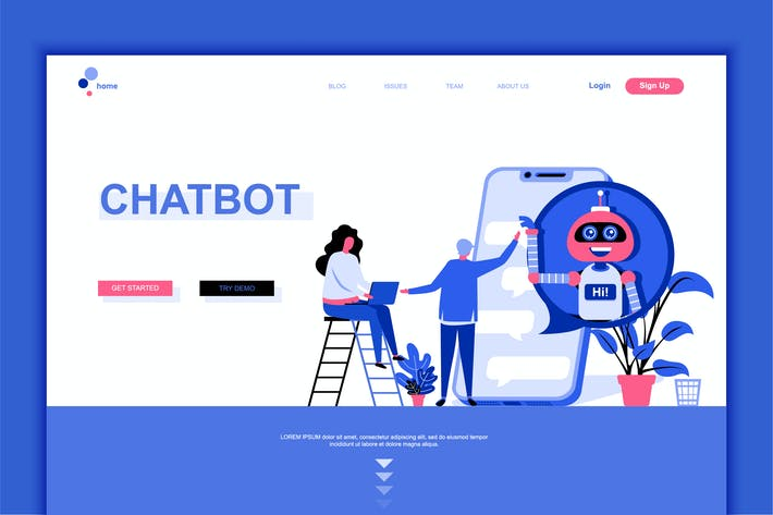 Thumbnail for Chat Bot Flat Landing Page Template