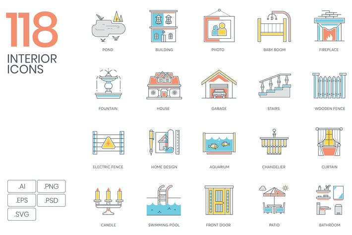 Thumbnail for 118 Interior Design & Furniture Icons