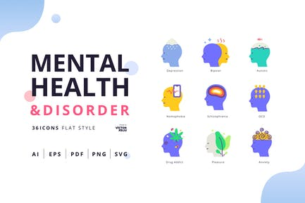 Mental Health&Disorder Flat Style Pack