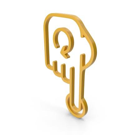 Icono amarillo girar dedo