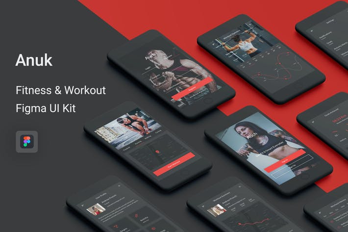 Thumbnail for Anuk - Fitness & Workout Figma UI Kit