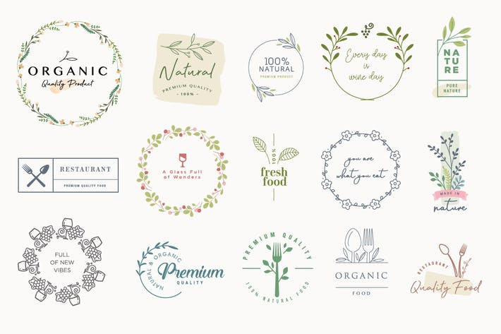 Set of labels and badges for organic products