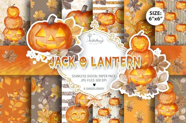 Watercolor Jack O Lantern digital paper pack