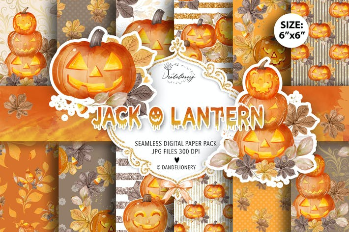 Thumbnail for Watercolor Jack O Lantern digital paper pack