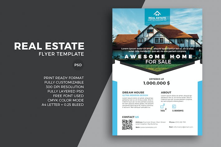 cover image for real estate flyer template