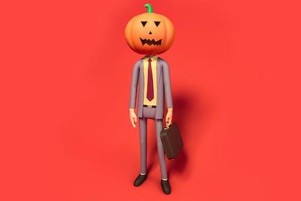 Pumpkin Business Man Halloween  Illustration