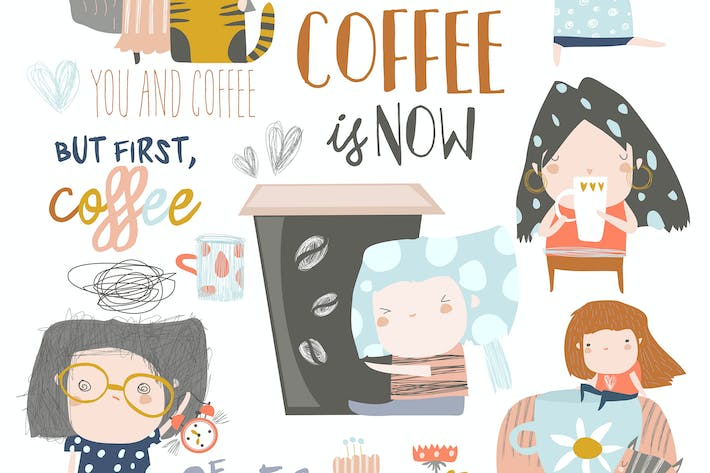 Cover Image For Cute young girls drinking coffee. Vector set