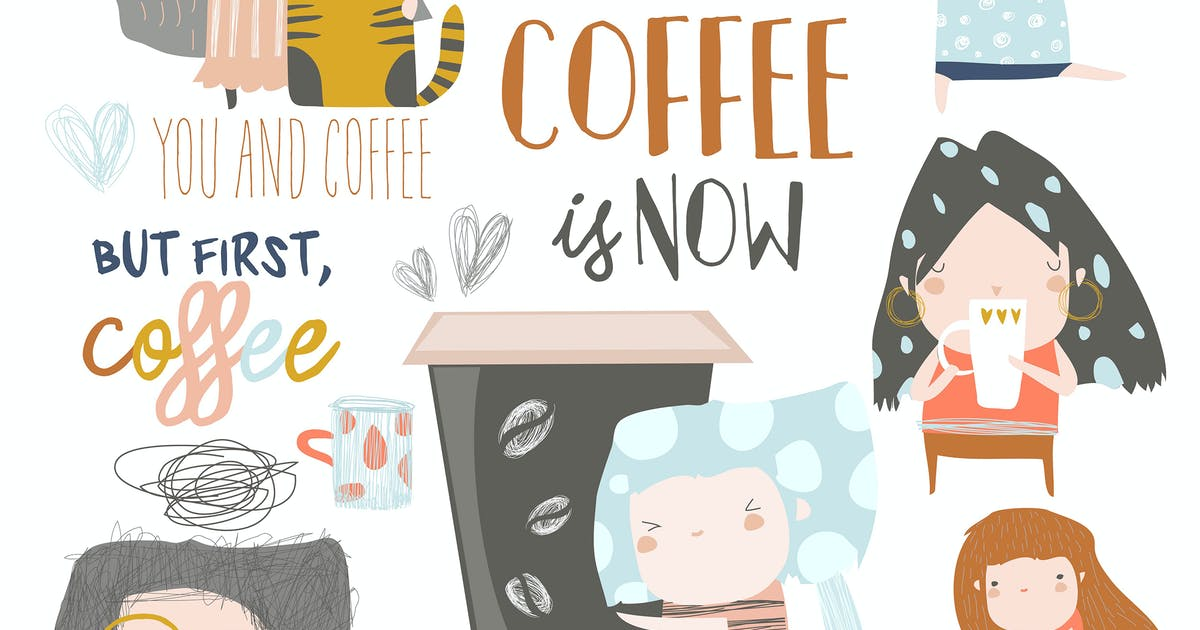 Download Cute young girls drinking coffee. Vector set by masastarus
