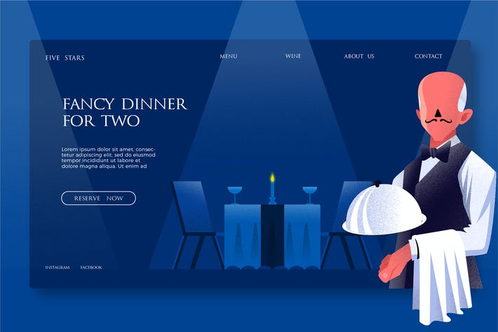 Thumbnail for Fancy Dinner - Banner & Landing Page
