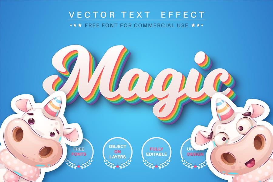 Волшебный единорог - редактируемый текстовый эффект, стиль шрифта