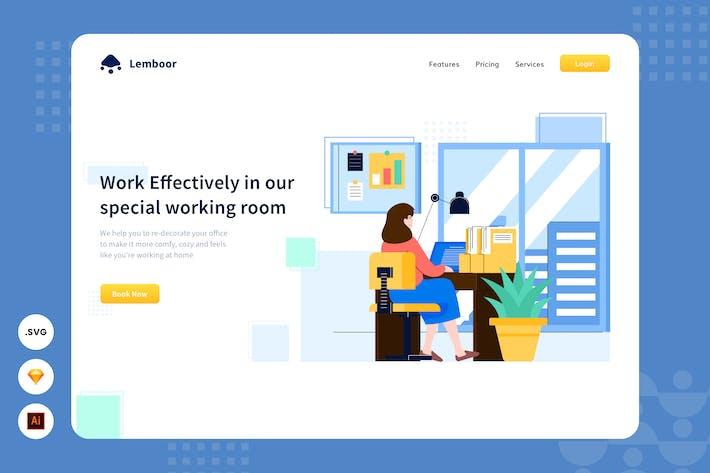 Overtime Working - Website Header - Illustration