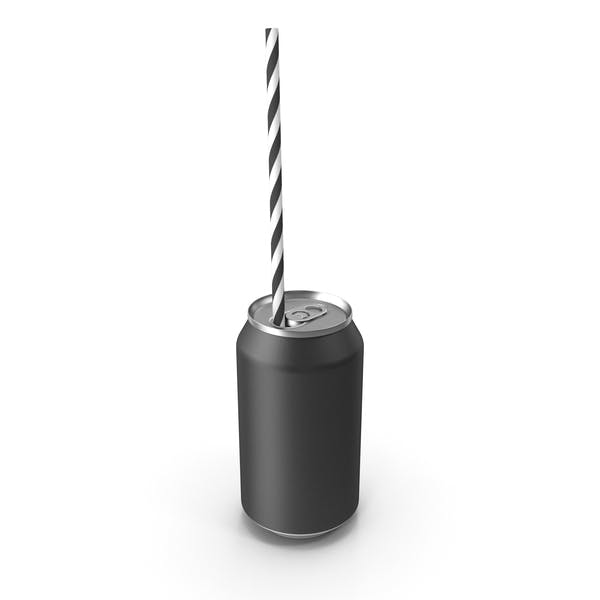 Thumbnail for Black Soda Can with Drinking Straw