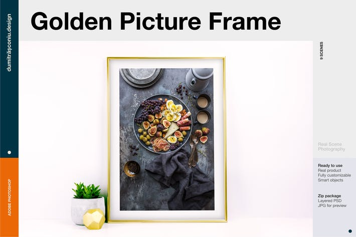 Cover Image For Golden Picture Frame Mockup