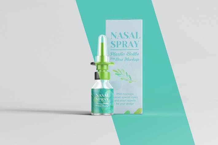 Thumbnail for Nasenspray klare Flasche mit Box Mockup
