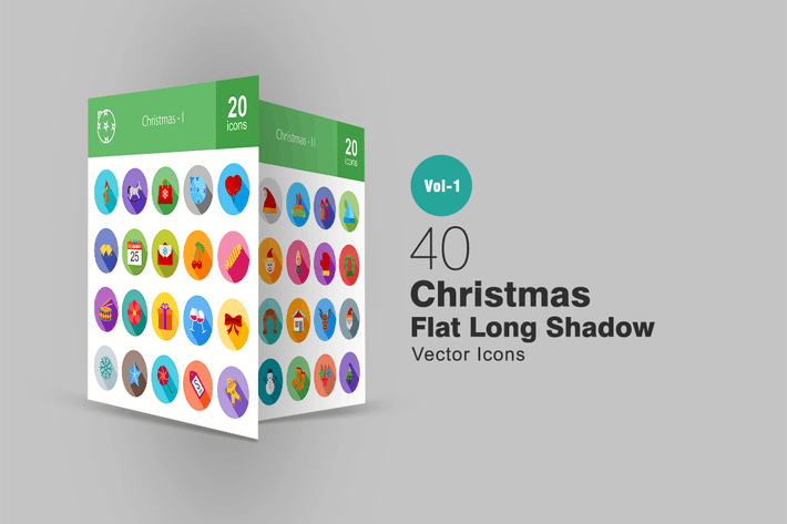 Thumbnail for 40 Christmas Flat Long Shadow Icons