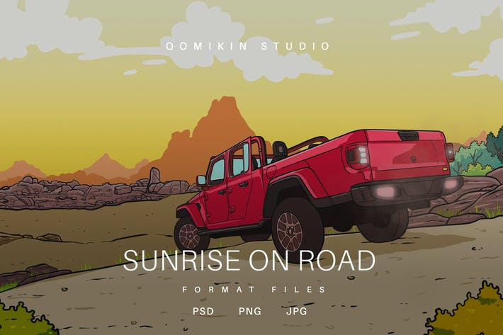 Thumbnail for Sunrise on Road Illustration