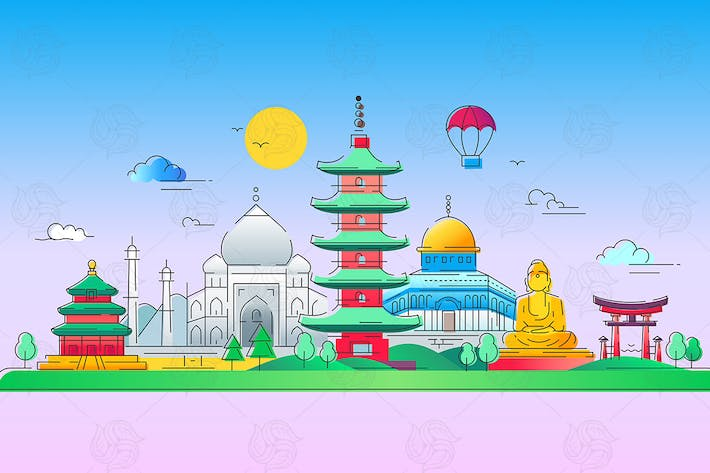 Thumbnail for Asian Countries - vector line travel illustration