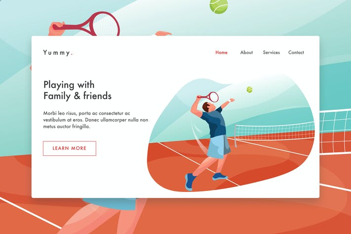 Thumbnail for Male Tennis Player  web template Landing Page
