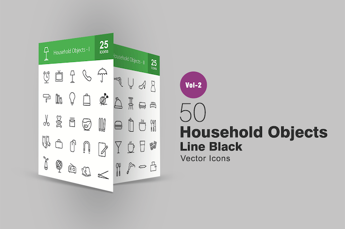 Thumbnail for 50 Household Objects Line Icons