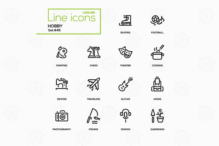 Thumbnail for Hobby - line design icons set