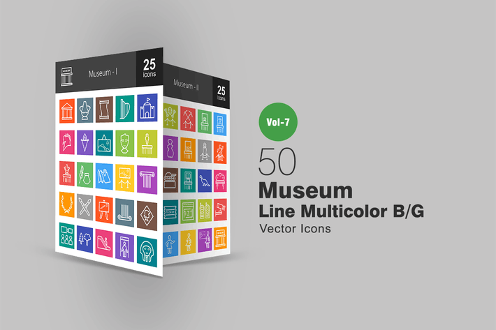 Thumbnail for 50 Museum Line Multicolor B/G Icons