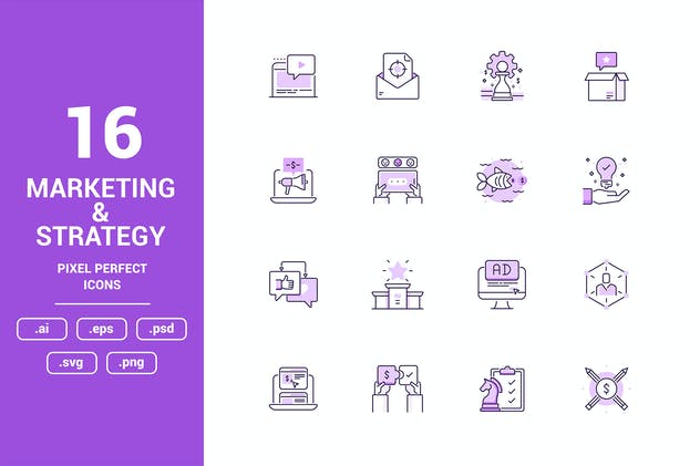 Marketing and Strategy Color Vector Line Icons